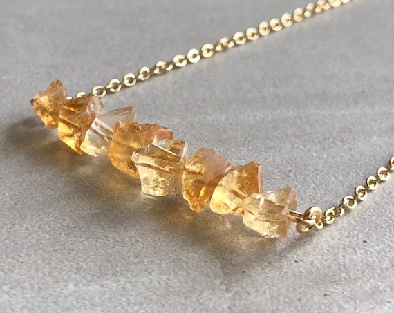 Raw Citrine Crystal Bar 14K Gold Necklace
