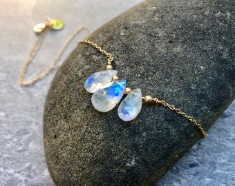 Dainty Teardrop Rainbow Moonstone 14K Gold Necklace