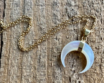 Natural Mother of Pearl Dainty Horn Crescent Necklace