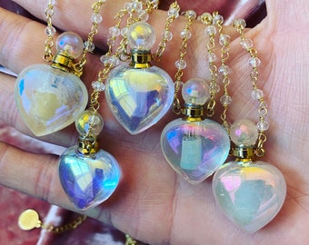Diffuser Angel Aura Quartz Rosary Chain Necklace