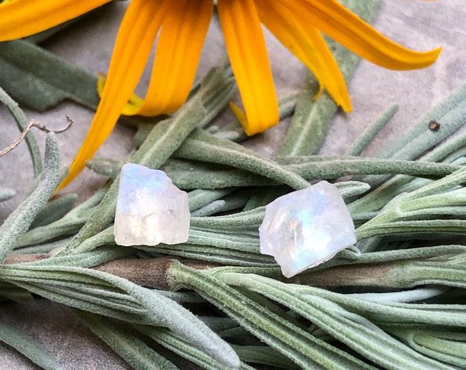 Featured listing image: Raw Rainbow Moonstone Crystal Stud Earrings