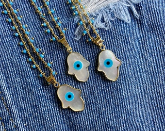 Evil Eye Rosary Chain Boho Necklace