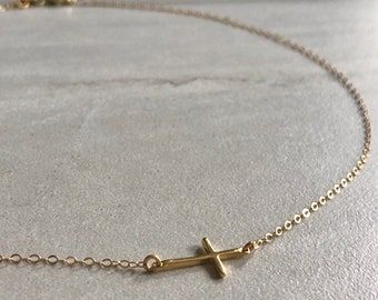 6087b2fee5ea Dainty Cross Necklace  14K Gold  Simple Cross  Gold Cross Necklace  Simple  Choker  Simple Necklace  Minimalist Cross  Dainty Cross