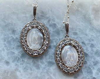 Sterling Silver Mother Mary Carved Shell Necklace