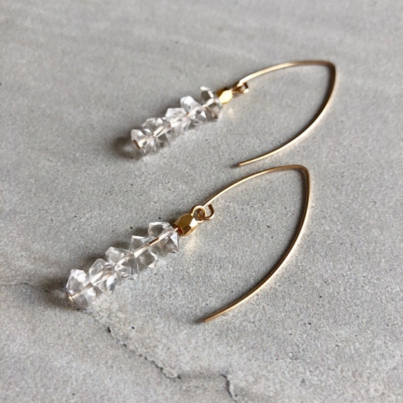 14K Gold Marquee Herkimer Diamond Crystal Earrings