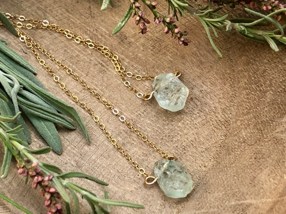 Raw Aquamarine Gemstone 14K Gold Necklace - March Birthstone