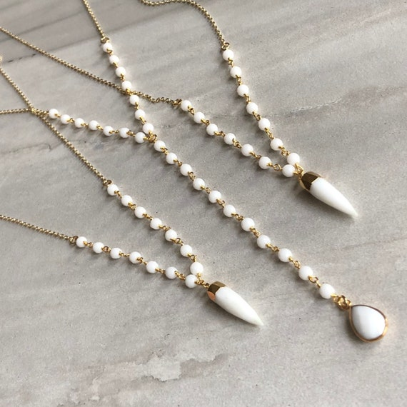 White Agate 14K Gold Boho Lariat Rosary Chain Necklace