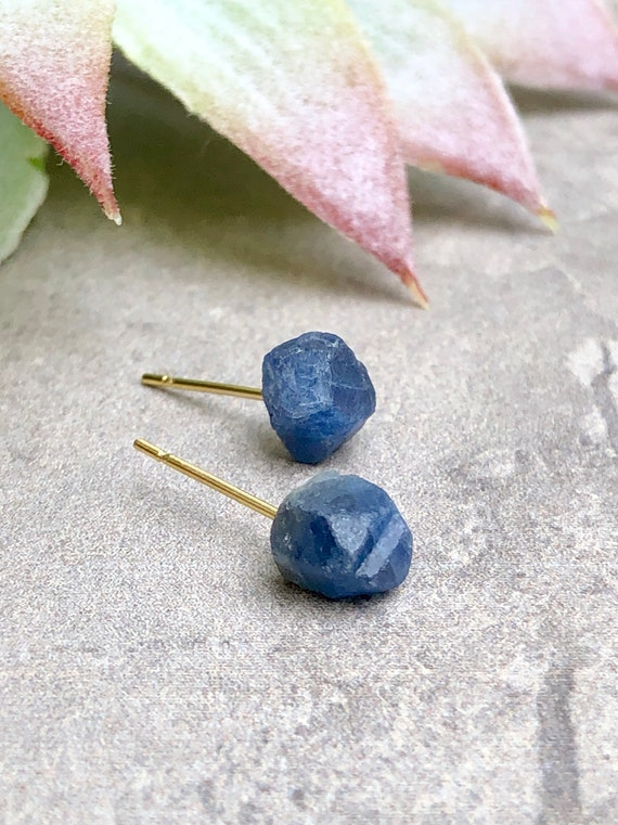 Raw Sapphire Gemstone Stud Earrings