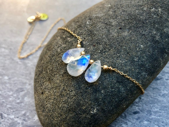 Dainty Teardrop Rainbow Moonstone 14K Gold Necklace