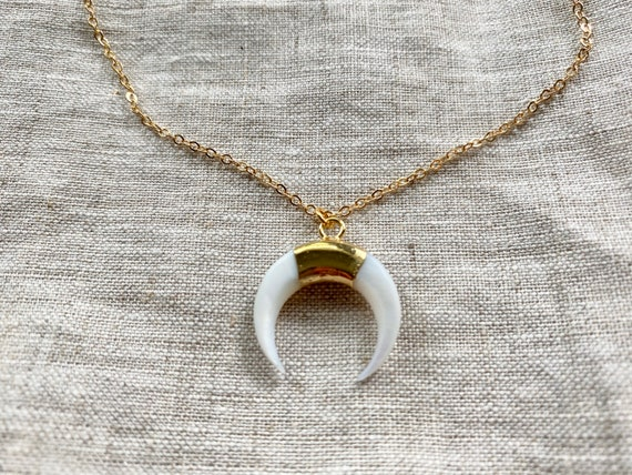 Double Horn Crescent Carved Shell Boho 14K Gold Necklace