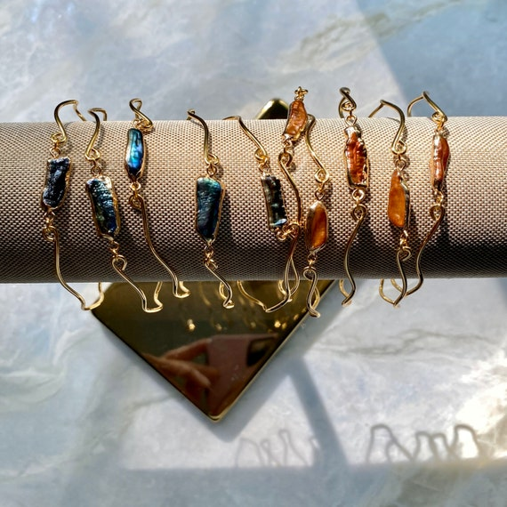 Gold Dainty Pearl Cuff Bracelet Bangle