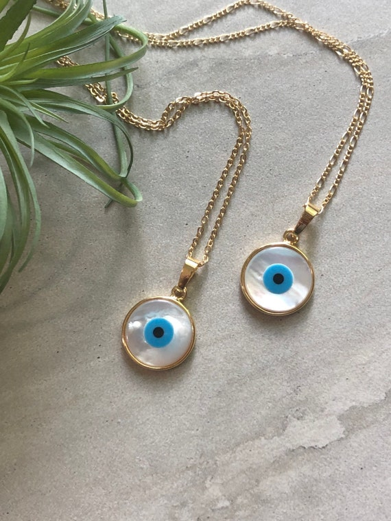 Evil Eye Carved Shell 14K Gold Boho Necklace