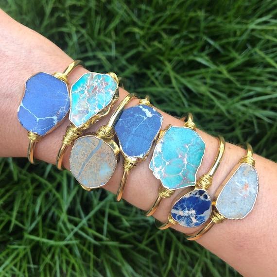 Sea Sediment Raw Jasper Gold Boho Bracelet Cuff