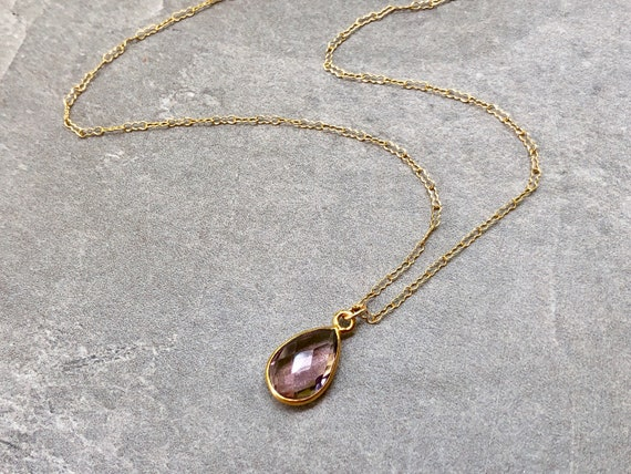 Dainty Morganite Gemstone 14K Gold Necklace