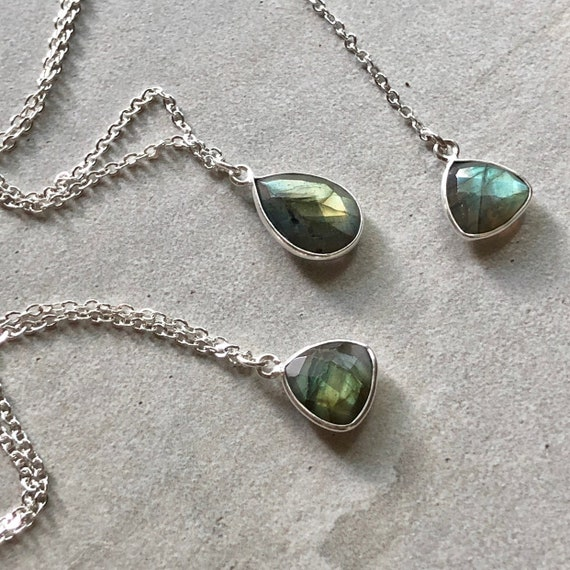 Dainty Trillion Labradorite Crystal Sterling Silver Necklace