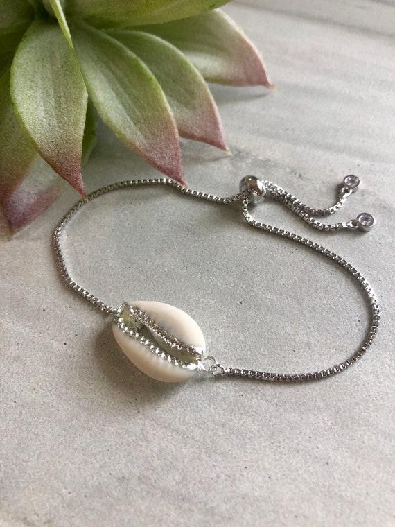 Cowrie Shell Boho Silver Beach Bracelet