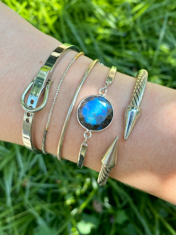Brilliant Silver Labradorite Crystal Bracelet