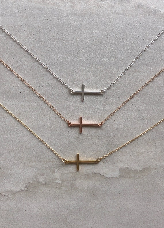 Dainty Minimalist Cross 14K Gold Filled Sterling Silver Simple Choker/ Necklace