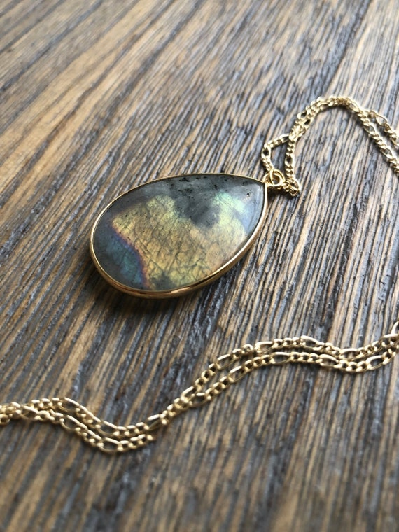 Brilliant Labradorite Teardrop Pendant Necklace