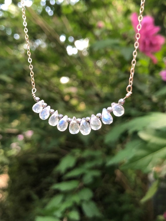 Dainty Rainbow Moonstone Teardrop Briolle Sterling Silver Necklace