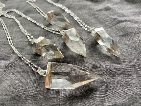 Raw Quartz Crystal Spike Sterling Silver Necklace