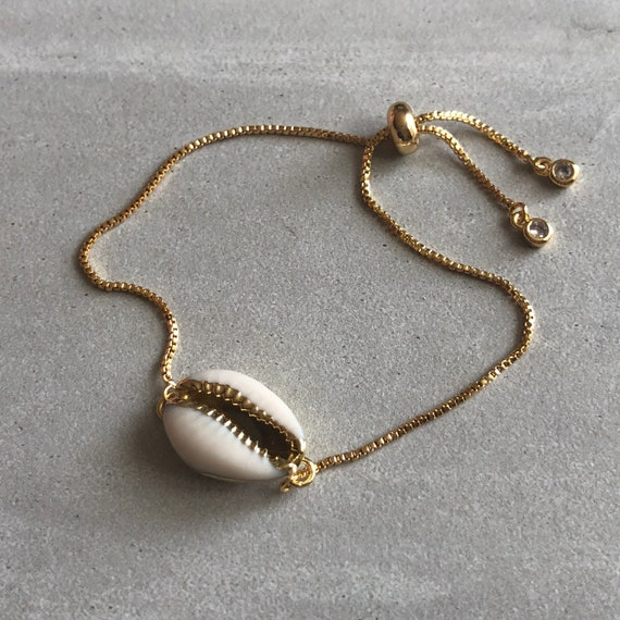 Cowrie Shell 14K Gold Plated Boho Bracelet