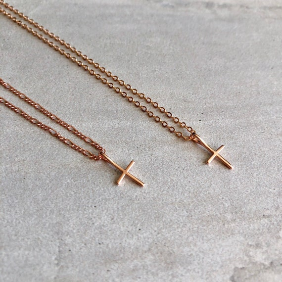 Dainty 14K Rose Gold Filled Simple Cross Necklace