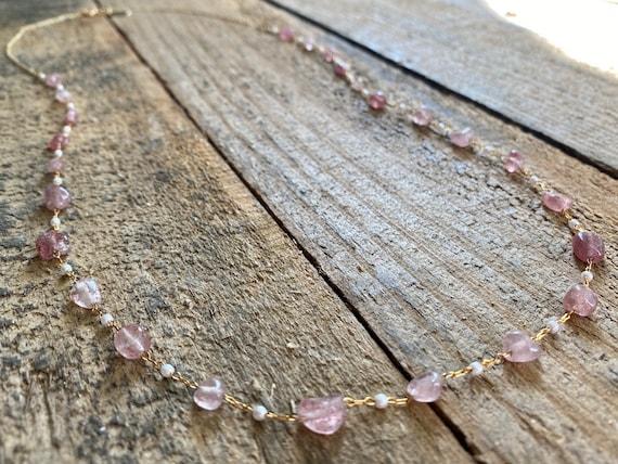 Long Strawberry Quartz Rosary Chain Necklace
