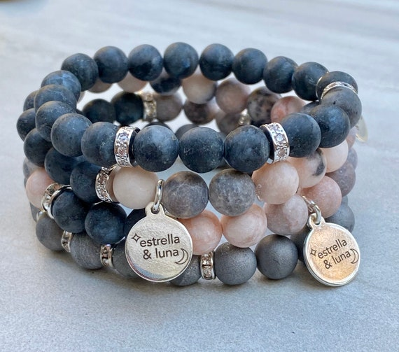 Silver Matte Jasper and Spectrolite Natural Stone Bead Bracelet Stack