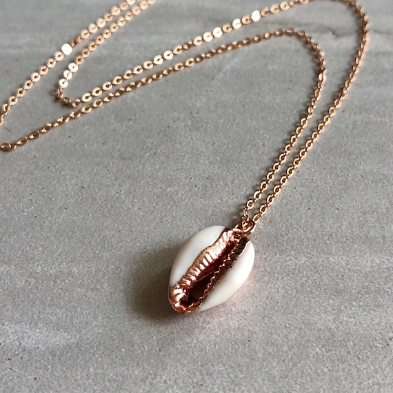 14K Rose Gold Cowrie Shell Pendant Necklace