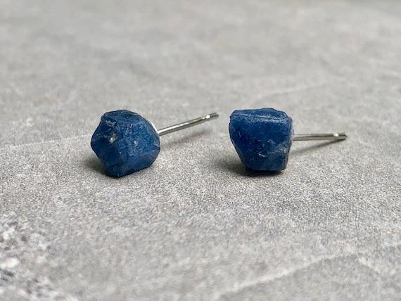 Sterling Silver Raw Sapphire Gemstone Stud Earrings