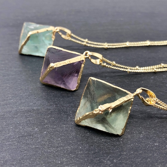 Fluorite Crystal 14K Gold Boho Necklace