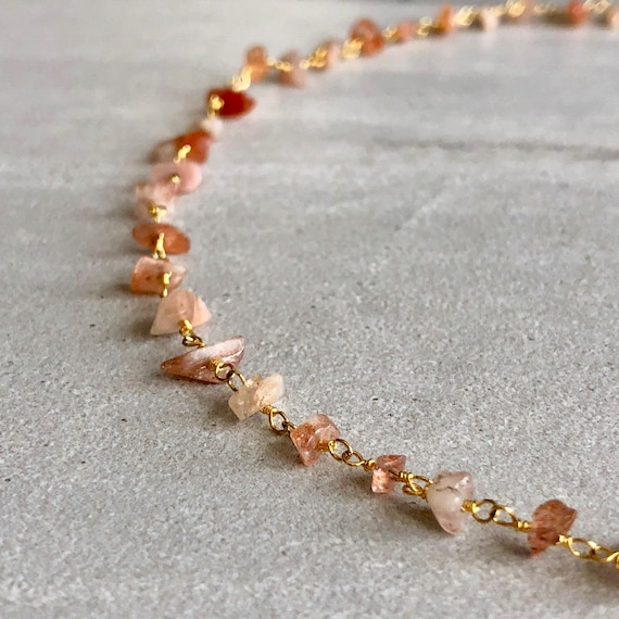 Raw Sunstone Crystal Rosary Chain Boho Choker Necklace