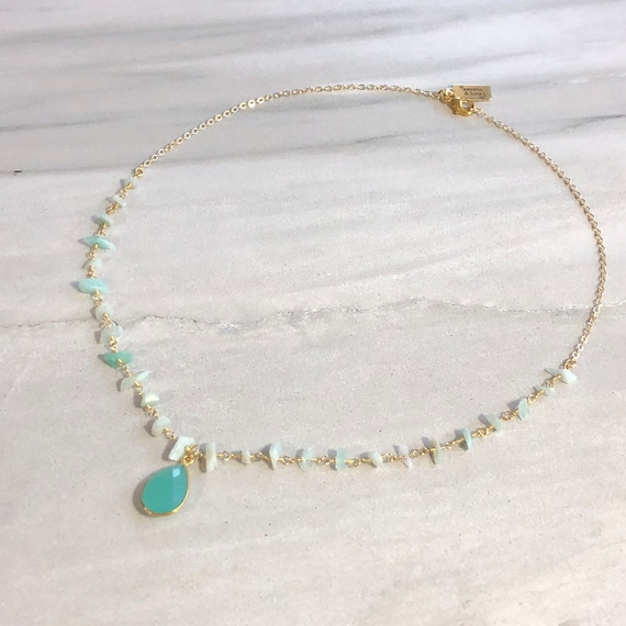 Amazonite Rosary Chain Rosary 14K Gold Boho Choker Necklace