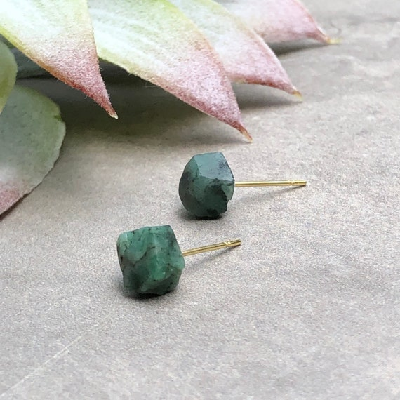 Raw Emerald Gemstone Earrings
