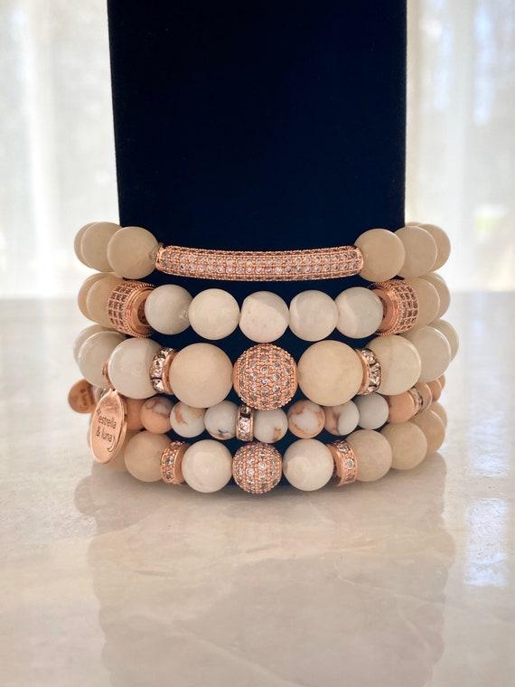 Matte Pink Rose Gold Pave Stacking Bracelets