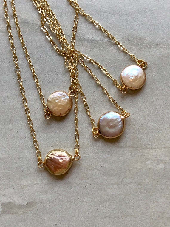 Baroque Pink Freshwater Natural Pearl 14K Gold Necklace