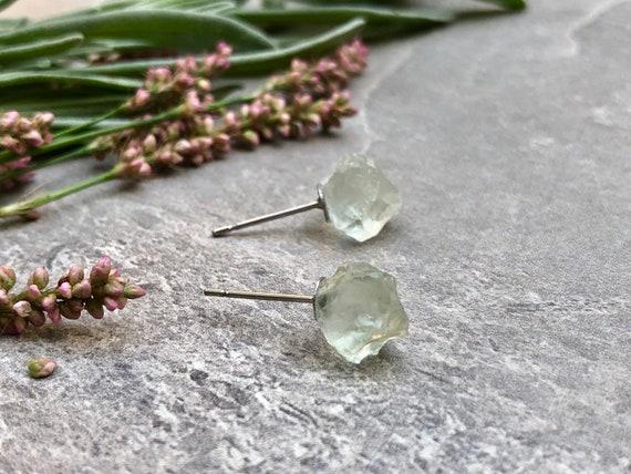 Raw Amethyst Earrings/ 14K Gold Amethyst Earrings/ Raw Crystal Earrings/ February Birthstone/ Green Amethyst/ Crystal Stud Earrings