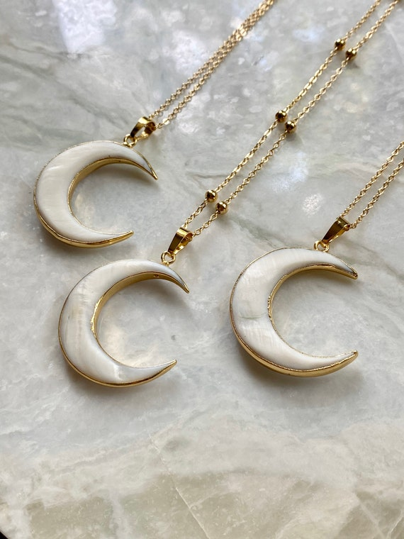Crescent Moon Carved Shell Gold Boho Layering Necklace