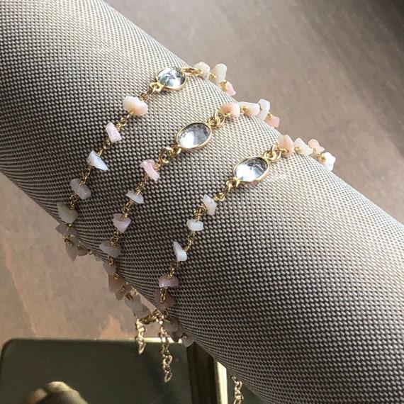 Dainty Pink Opal Rosary Chain 14K Gold Boho Bracelet