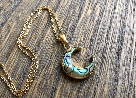Crescent Moon Abalone Shell 14K Gold Boho Necklace