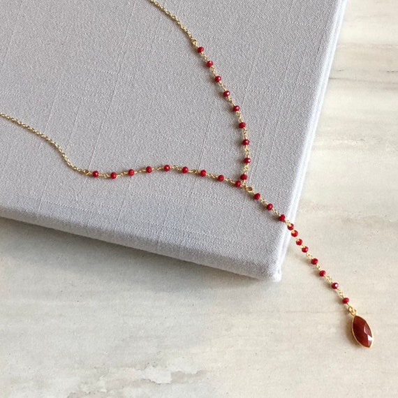Red Onyx and Coral Rosary Chain Boho Lariat Necklace