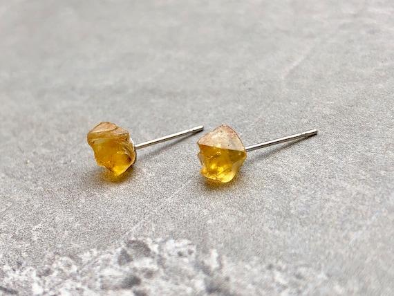 Raw Citrine Gemstone Crystal Stud Earrings
