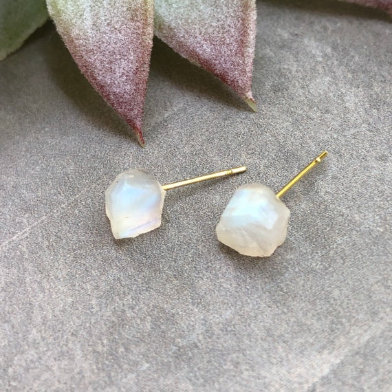 Raw Rainbow Moonstone Gemstone Stud Earrings