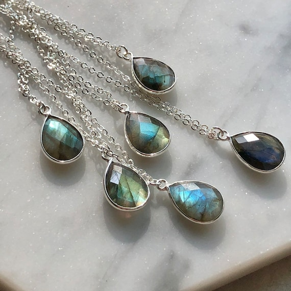 Teardrop Labradorite Crystal Sterling Silver Necklace