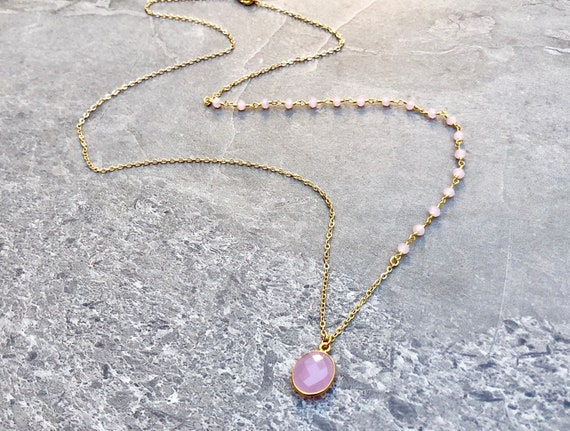 14K Gold Rose Chalcedony Rosary Chain Necklace