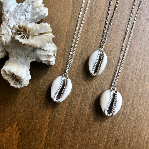 Sterling Silver Boho Cowry Shell Pendant Necklace