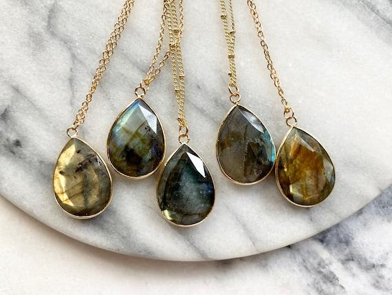 Nebula Labradorite Crystal 14K Gold Necklace