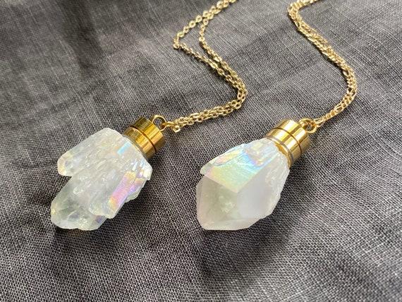 Raw Aura Quartz Crystal/ Essential Oil Diffuser/ Perfume Bottle Necklace/ Essential Oil Necklace/ Aura Quartz/ Spirit Quartz/ Angel Quartz