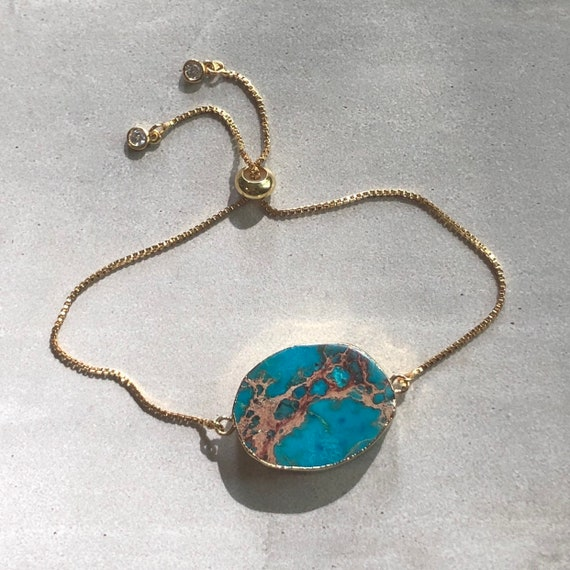 Raw Jasper Sea Sediment Gold Boho Bracelet
